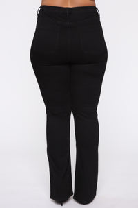 Katt Flare Button Jeans - Black Angle 11