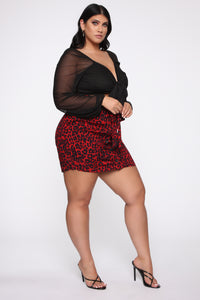 You're An Animal Printed Skirt - Red
