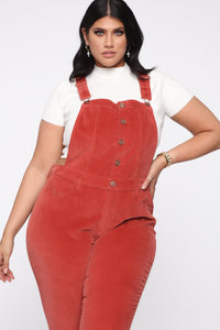 Cut The Corduroy Overalls - Rust Angle 6