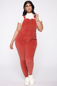 Cut The Corduroy Overalls - Rust Angle 5