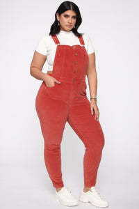 Cut The Corduroy Overalls - Rust Angle 7