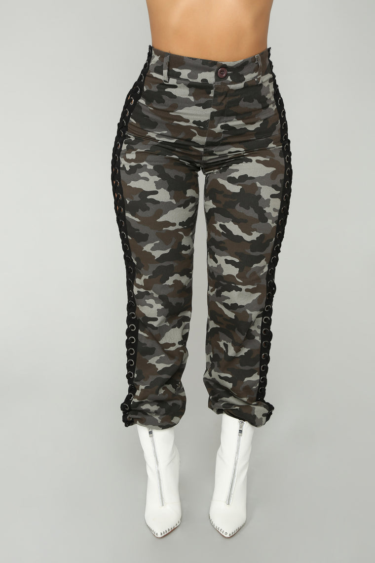 Lace Up The Camo Cargo Pants - Grey