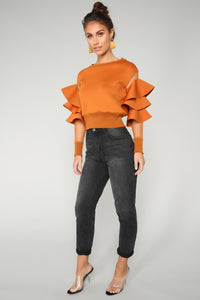 Give Me More Ruffle Top - Cognac
