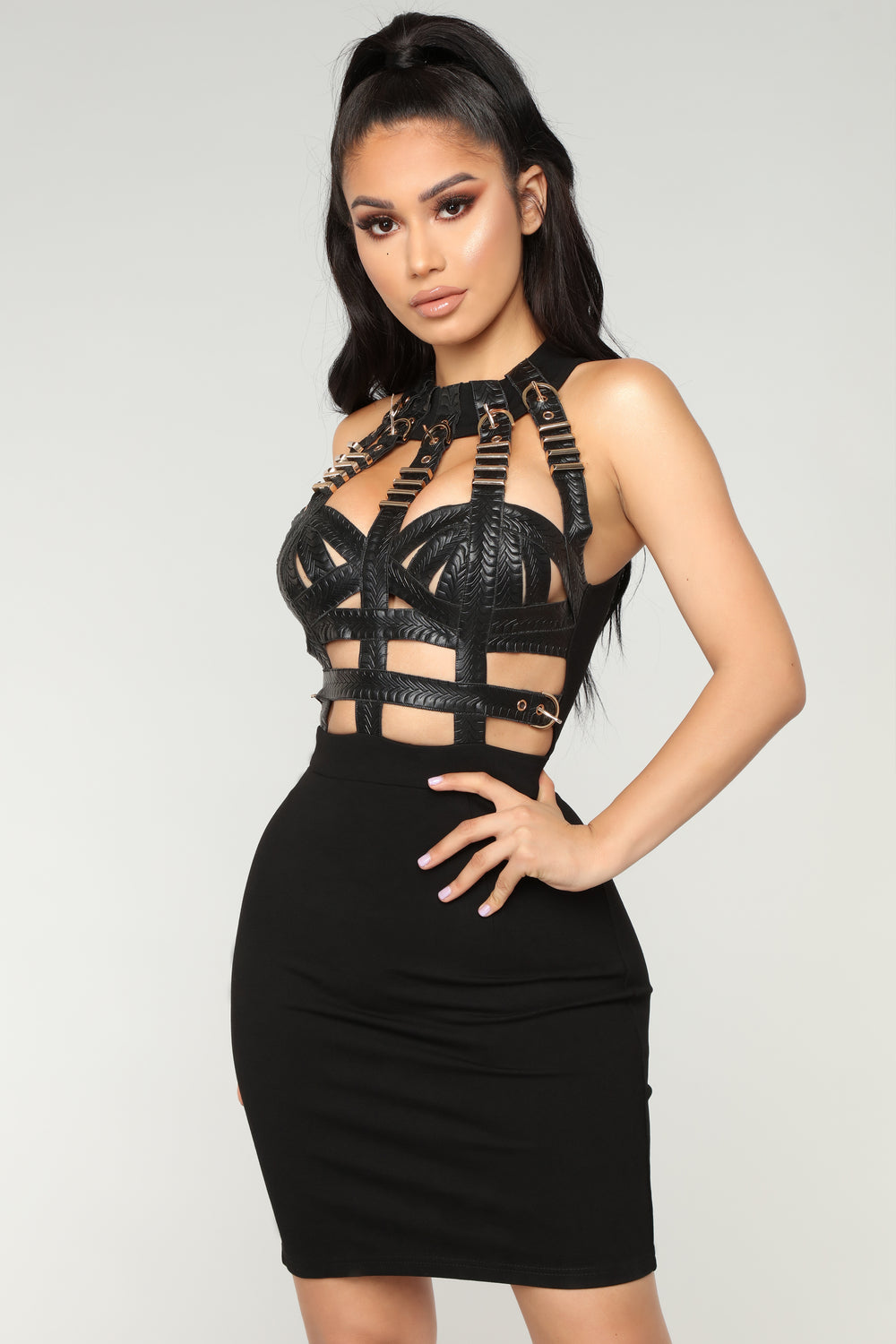 Queen Status Mini Dress - Black
