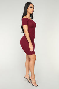 Every Day Ribbed Dress - Burgundy