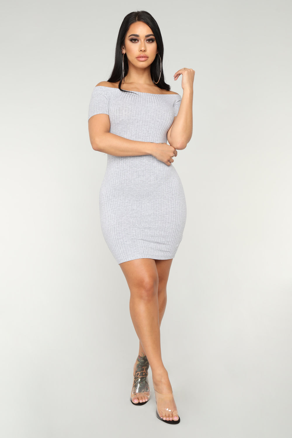 Every Day Ribbed Dress - Heather Grey