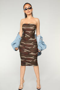 Fightin' Chance Tube Dress - Olive