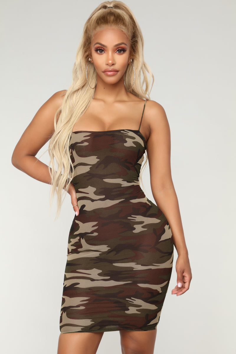 Fightin' For Love Camo Dress - Olive