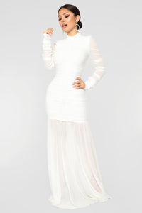 Cardi Party Ruched Dress - White Angle 1
