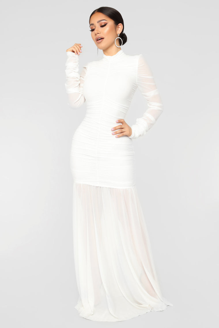 Cardi Party Ruched Dress - White