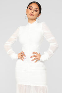Cardi Party Ruched Dress - White Angle 3