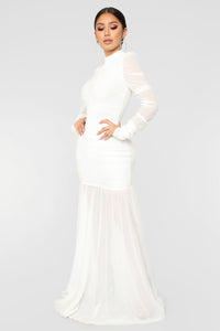 Cardi Party Ruched Dress - White Angle 4