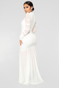Cardi Party Ruched Dress - White Angle 5