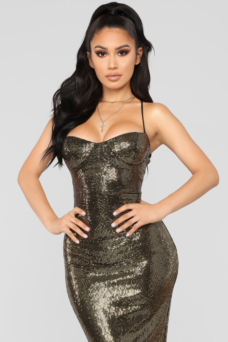 Ultra Radiant Sequin Dress - Gold
