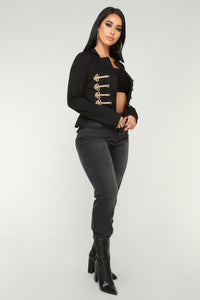 Princess Charming Peplum Jacket - Black