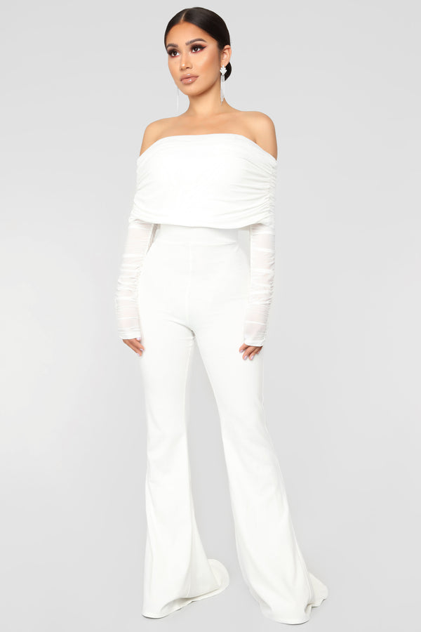 e82cd87385e8 Kendall Ruched Jumpsuit - White