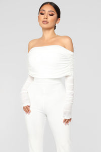 Kendall Ruched Jumpsuit - White