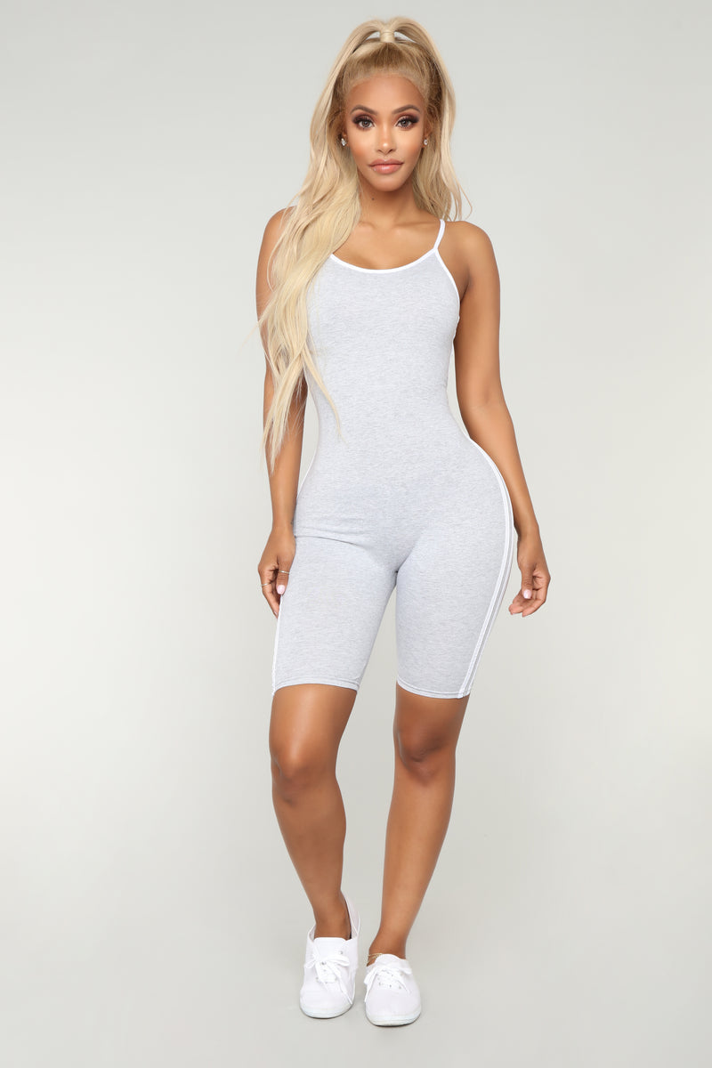 Come Over Romper - Heather Grey
