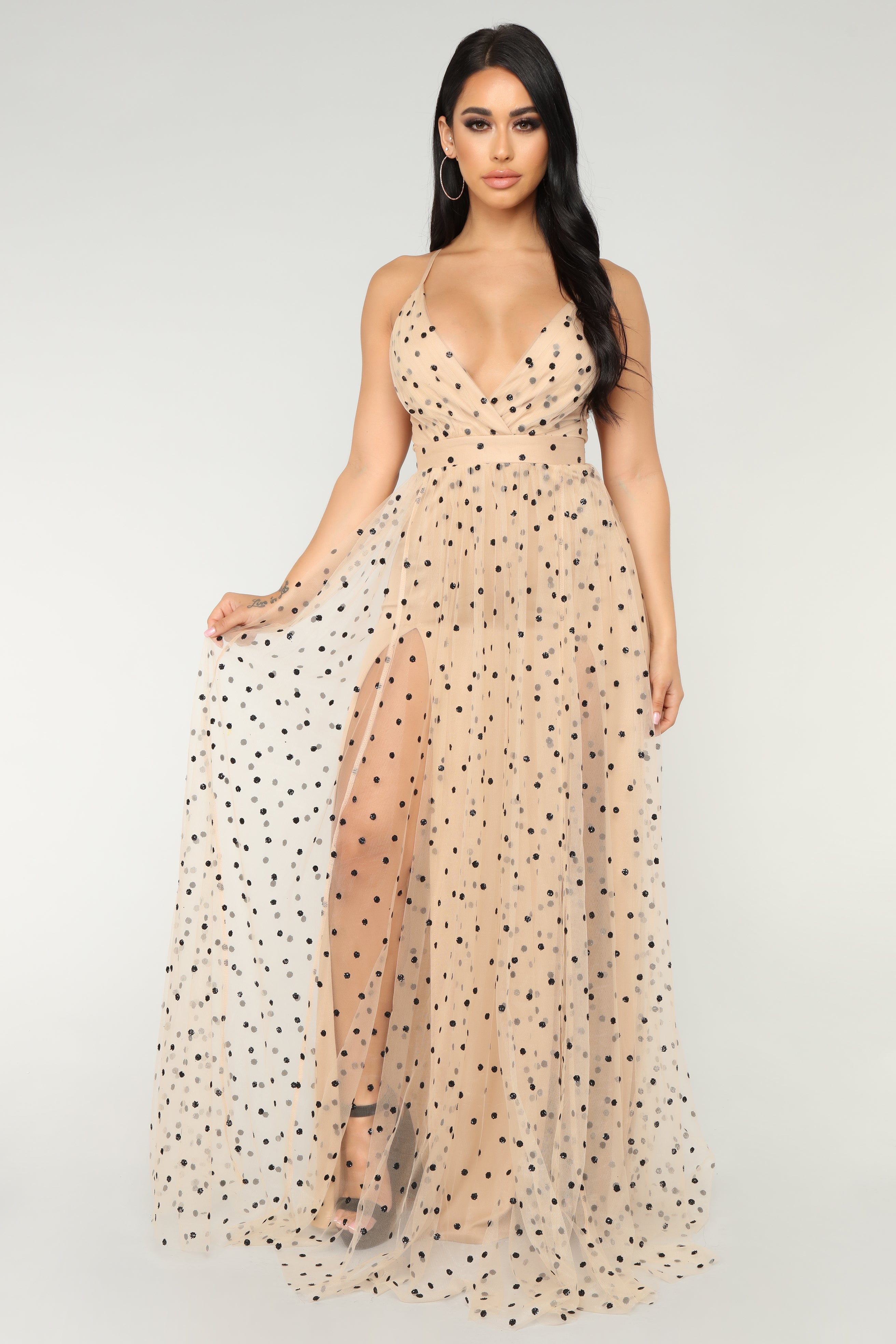 Polka Dot Frenzy Maxi Dress - Nude-7304