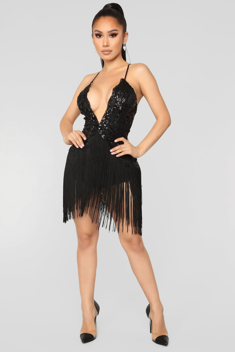 Speakeasy Fringe Dress - Black