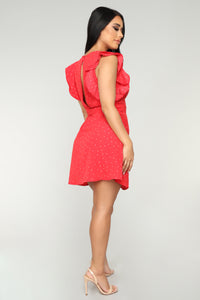 Win The Lot Polka Dot Dress - Red