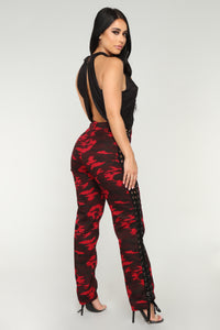 Lace Up The Camo Cargo Pants - Red