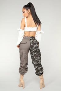 Split Personality Cargo Pants - Grey