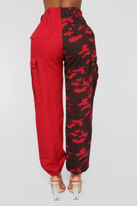Split Personality Cargo Pants - Red