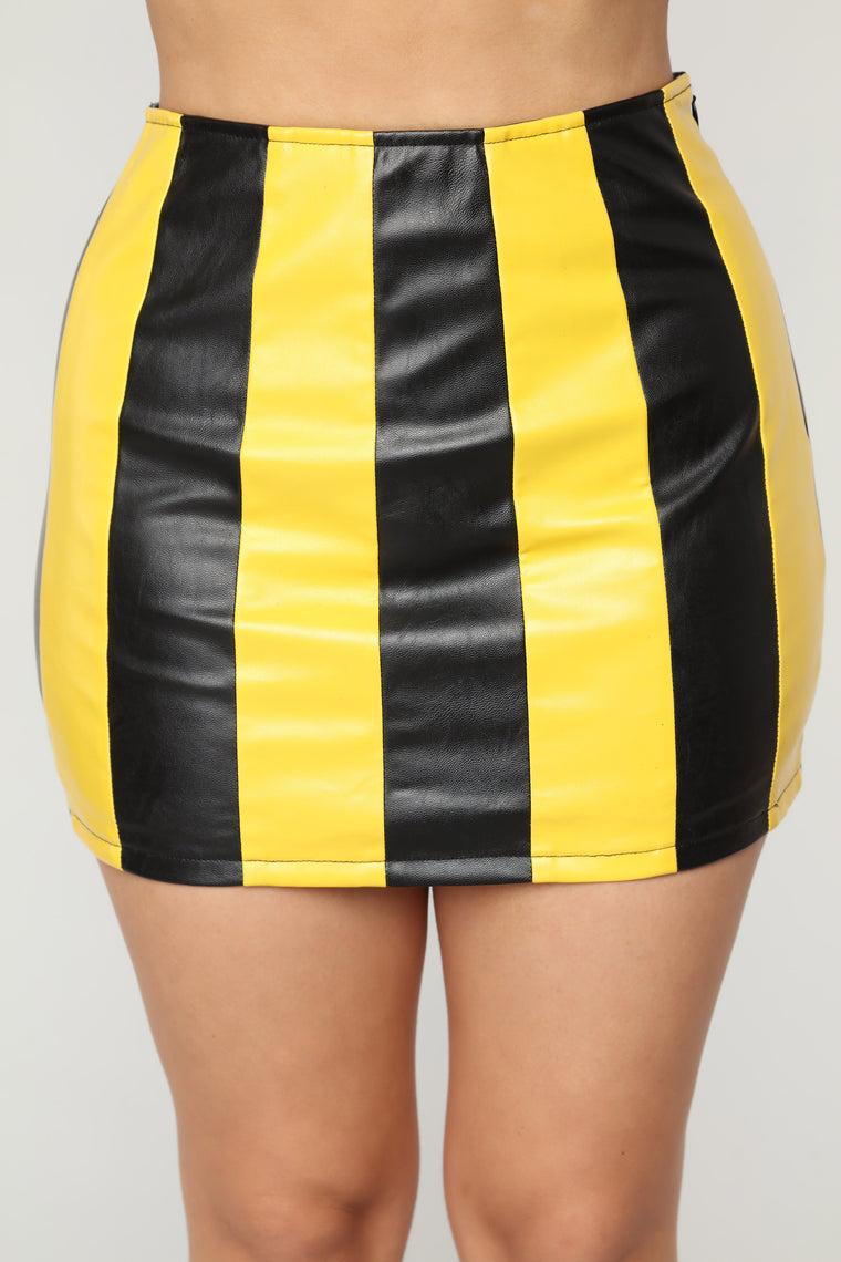 Trendy Chick Faux Leather Skirt - Black/Yellow