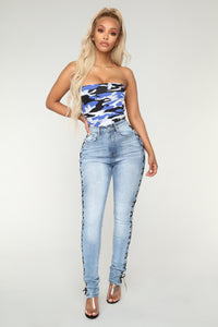 Malena High Rise Lace Up Jeans - Medium