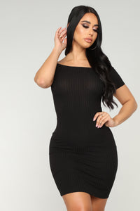 Every Day Ribbed Dress - Black