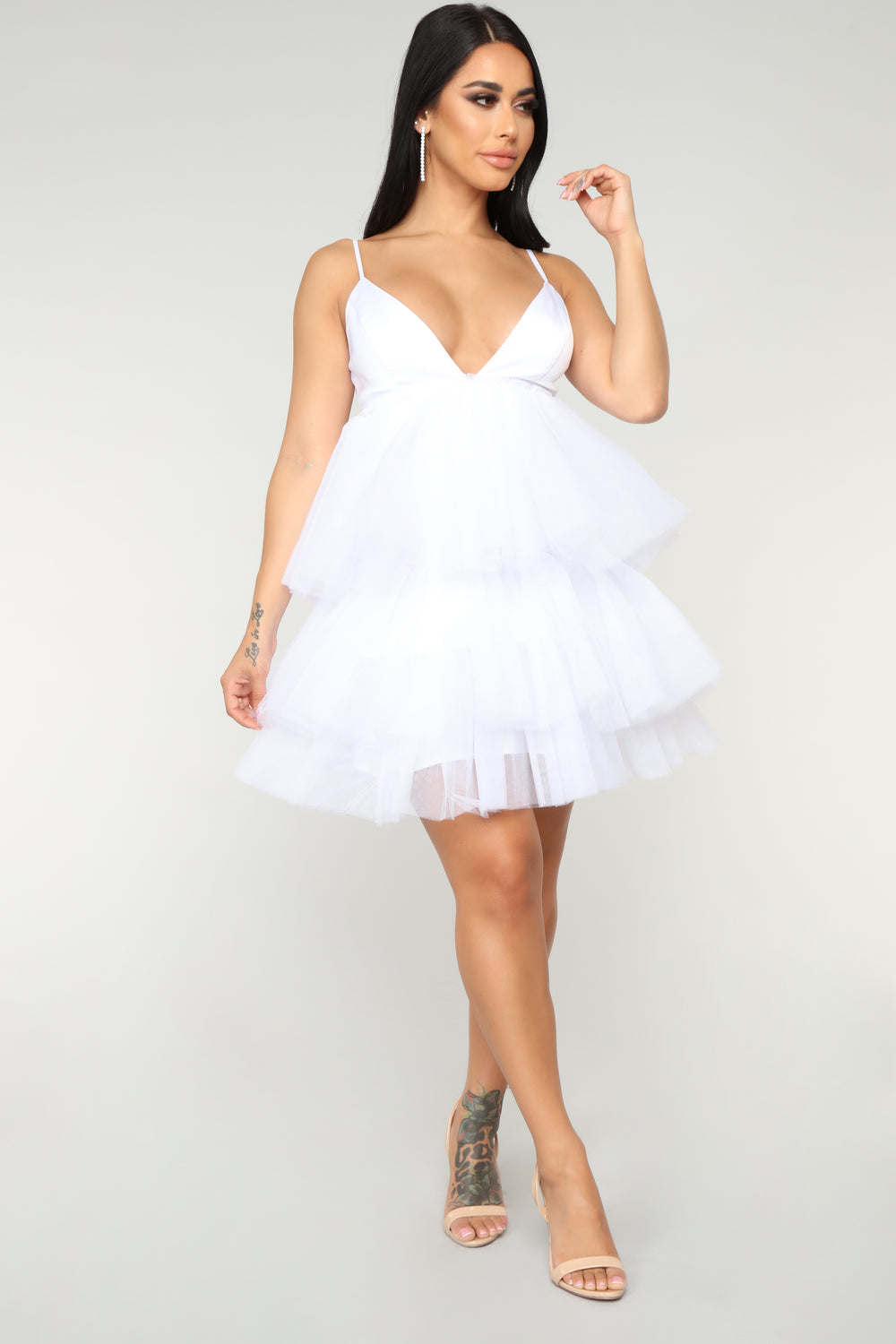 She Bad Ruffle Dress - White