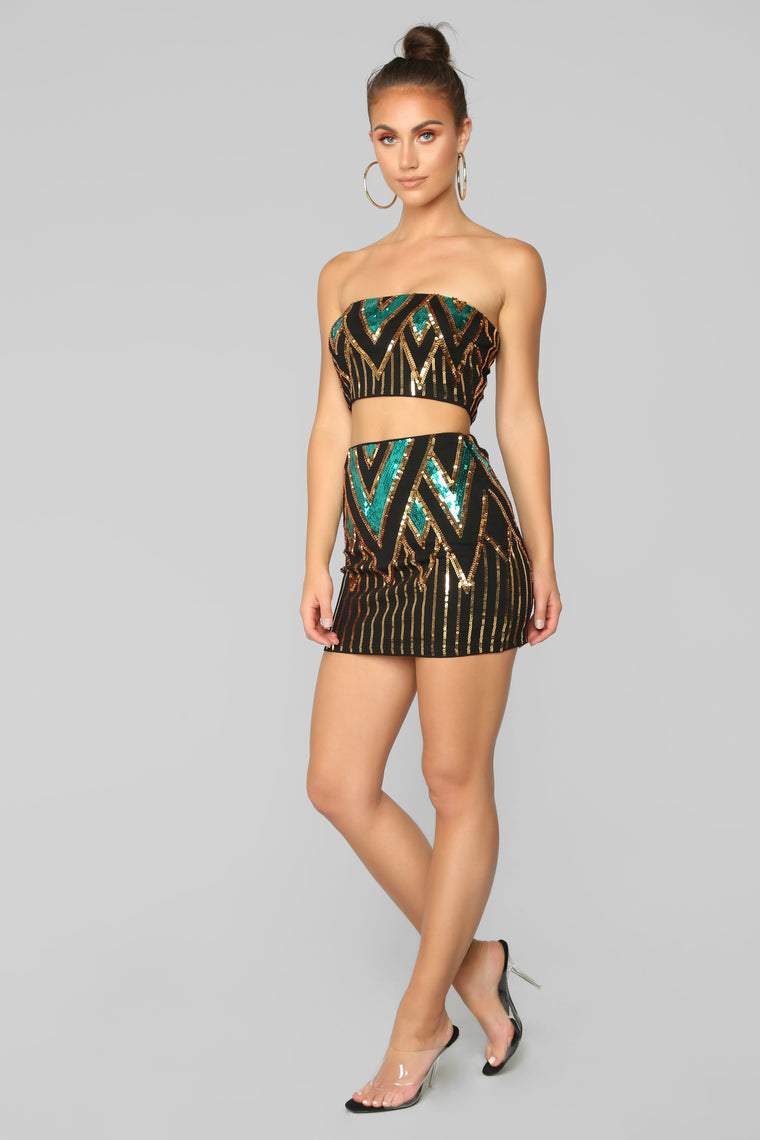 Dance With Somebody Skirt Set - Black/Teal