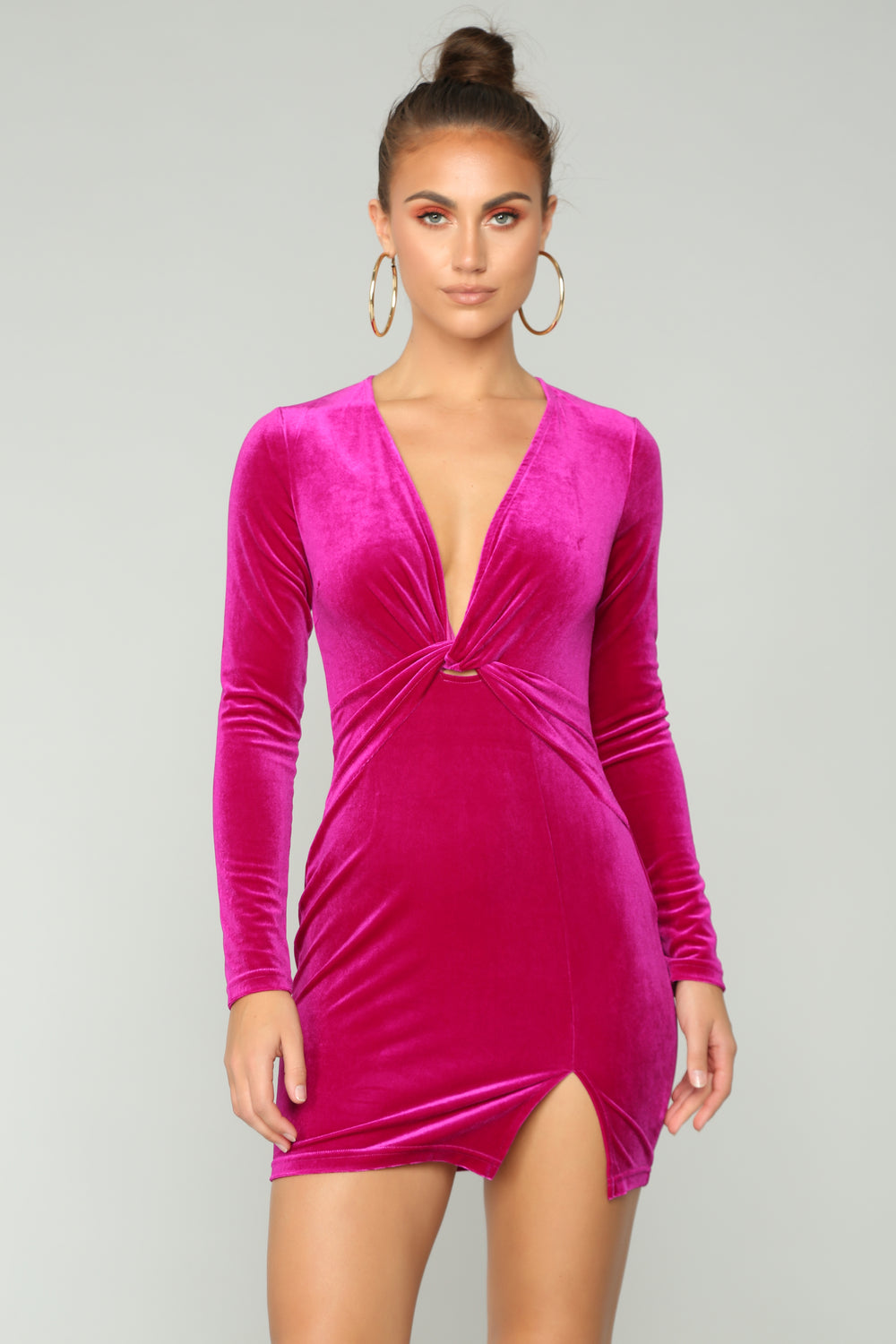 Knot Without You Velvet Dress - Plum