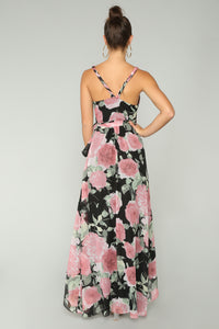 Happy Thoughts Floral Maxi Dress - Black