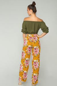 Floral Frenzy Pants - Mustard