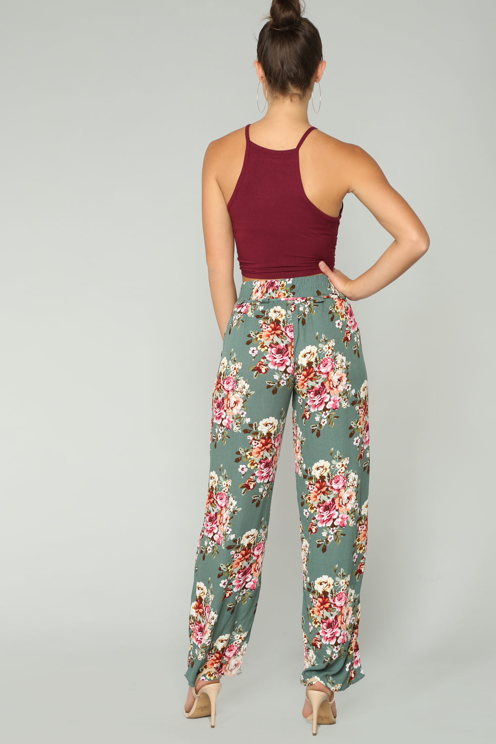 Floral Frenzy Pants - Sage