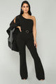 Don't Let Him Sleeve Jumpsuit - Black