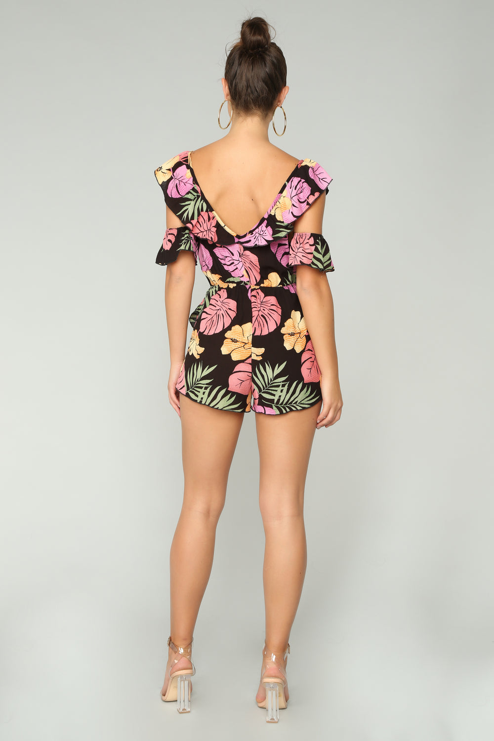 Out By The Beach Tropical Romper - Black/Multi