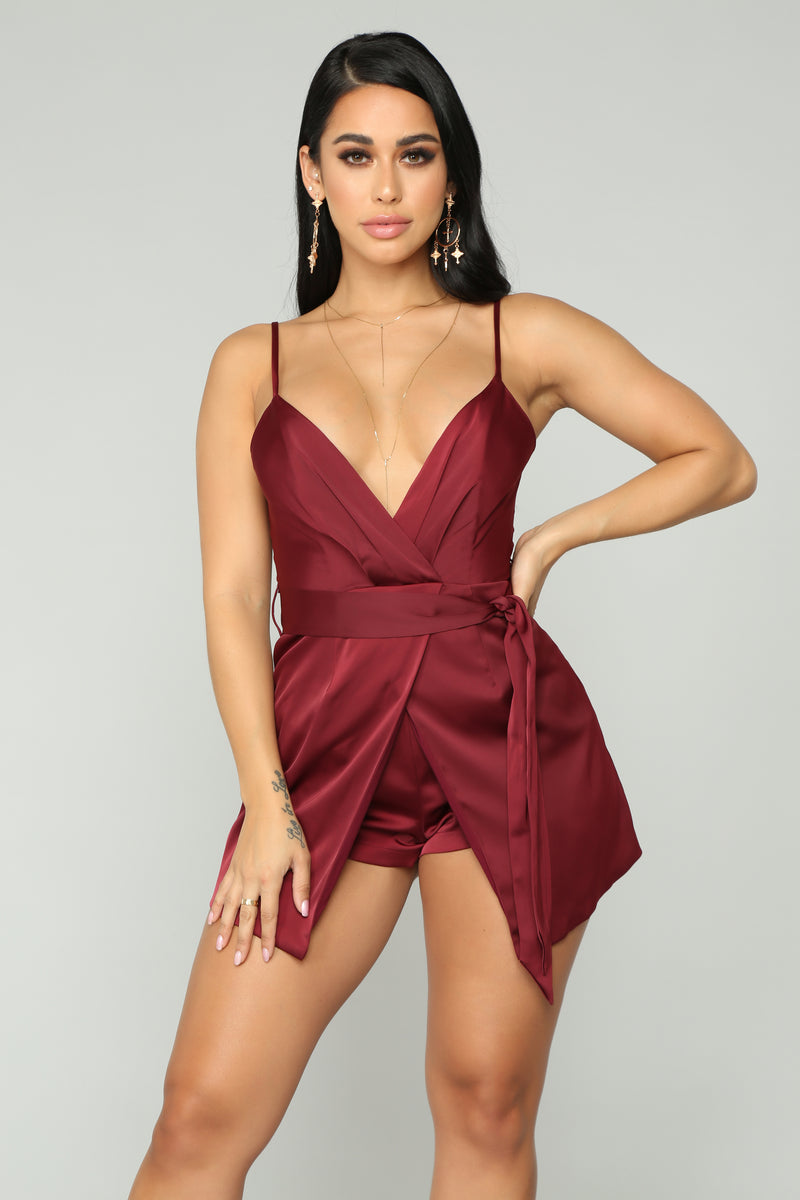 Satin Dream Asymmetrical Romper - Burgundy