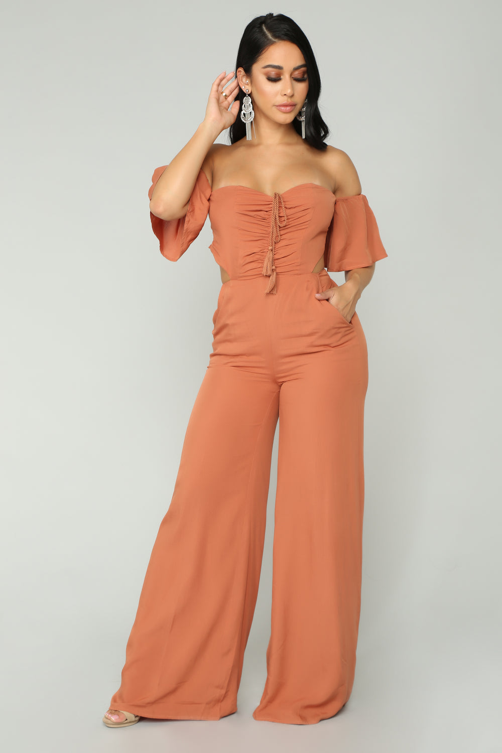 Crazy Kind Of Love Jumpsuit - Brick Red