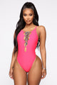 Vegas Weekend Lace Up Swimsuit - Coral