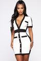 Mature Moves Body Sculpting Mini Dress - White/Black