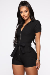 Met My Standards Twill Romper - Black Angle 1