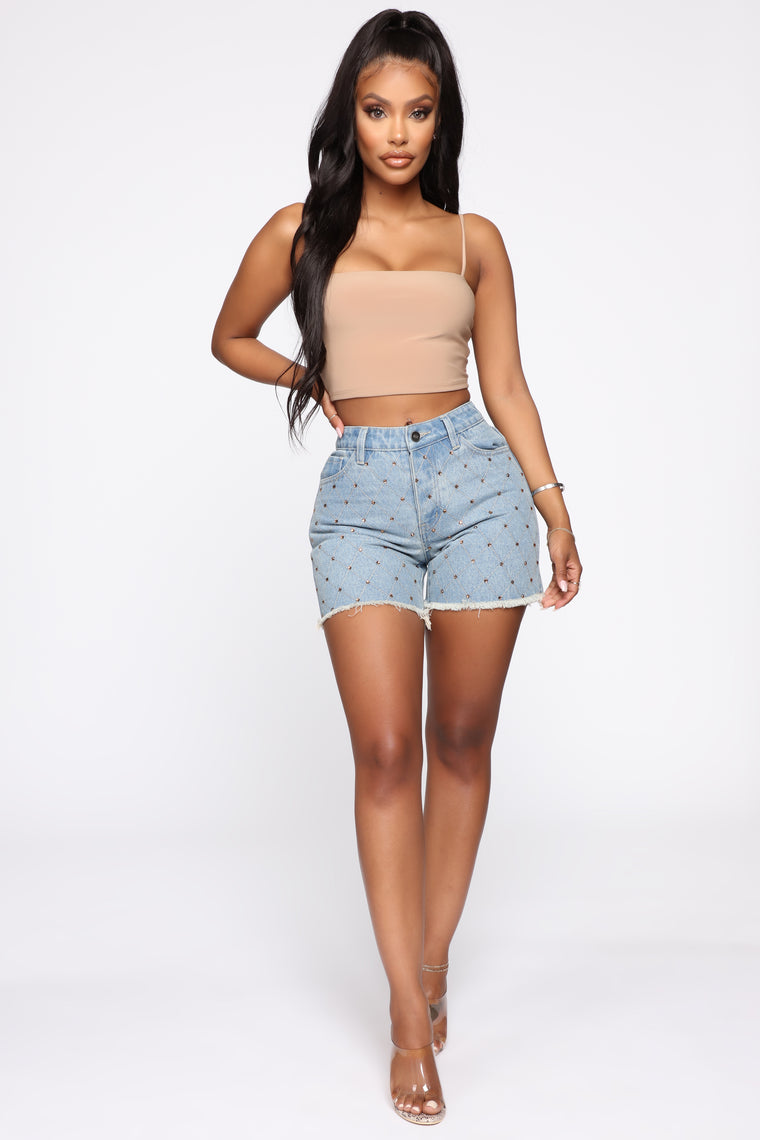 Giselle Bling High Rise Denim Shorts - Light Blue Wash