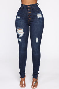 Going Through It Skinny Jeans - Dark Denim