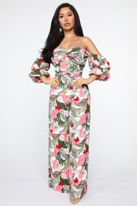 Not Your Typical Tropical Jumpsuit - White/Combo