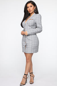High Income Blazer Mini Dress - Grey/Green