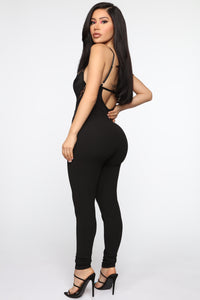 Win You Over Lace Jumpsuit - Black