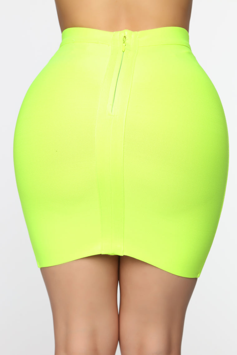 Tied Up Bandage Mini Skirt - Neon Yellow